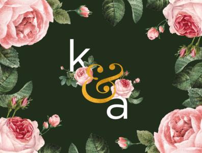 K & A Wedding Branding stationery branding invite green olive pink gold ampersand monogram roses wedding