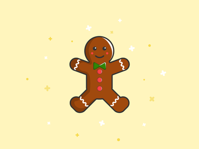 Cookie Man green red illustration logo cute flat cookie man christmas