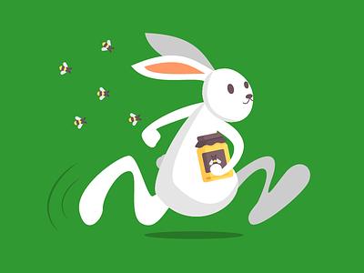Bunny stealing honey running bunny bunny bees honey rabbit illustration