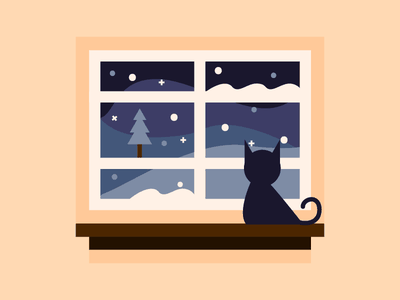 Snowy Night night snow illustration flat