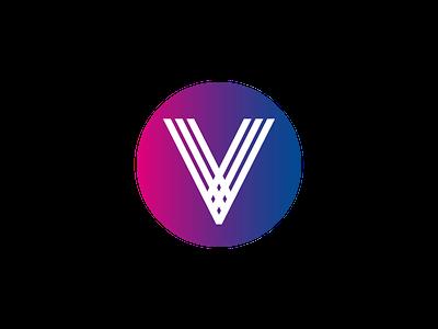 V Logo flat branding simple v logo