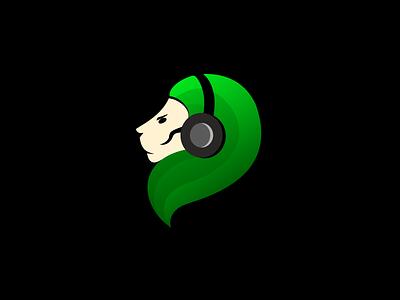 Lion illustration logo graphic design gradient headset lion