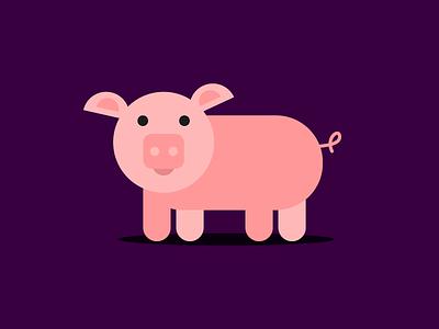 Pig minimalistic design graphic illustration flat pig animal