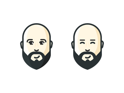Beard graphic design flat design illustration guy cute man logo men bald beard character