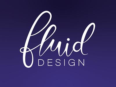Fluid Design Logo branding typography flat flat design illustration vector simple gradient lettering design art calligraphy design fluid logo logo fluid calligraphy