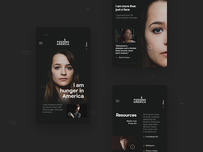 The Faces Of Hunger, Feeding America — Mobile america mobile ui mobile website webdesign web interface design