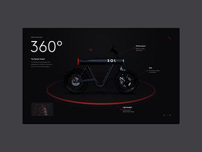 Sol Motors — The Pocket Rocket art direction design creative website 3d uidesign ux ui interface web experience motorbike motor clean modern dark typography minimal