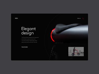 Sol Motors — The Pocket Rocket bike typogaphy image gallery art direction creative motor clean modern dark webdesign website minimal ui interface design