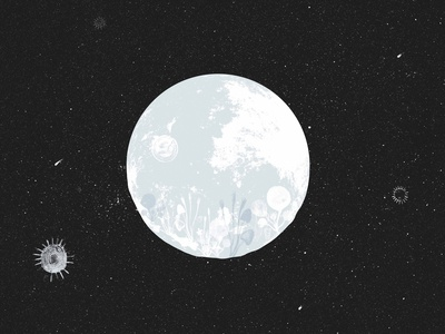A different moon drawing abstract illustration concept