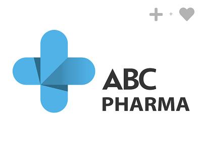 Abc Pharma blue medical heart love pharmaceutical abc pharma icon vector design logo illustration