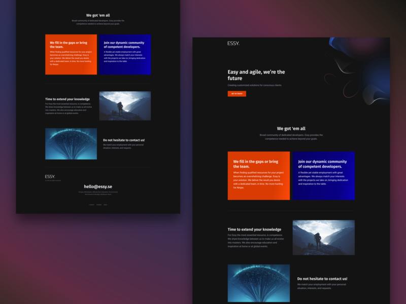 ESSY. - Landing page agency website fullstack sketch programming frontend web web design landingpage design concept ui minimal