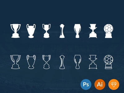 Football Trophies [FREEBIE] football soccer trophies photoshop illustrator sketch liga champions copa supercup ballon dor golden ball