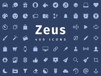 Zeus - Icon set for every project development design glyphs iconography set icon