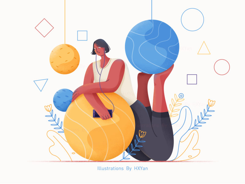 Yoga time flat animation vector icon typography 设计 branding ui design ps