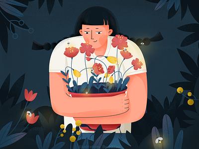 Flower animation flat illustration typography branding ios web design 插图 ps