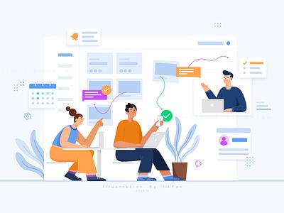 Team task management animation flat 类型 typography ux 应用 ps illustration design ui