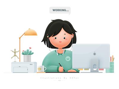 Work time flat app icon typography branding 类型 插图 ui design ps