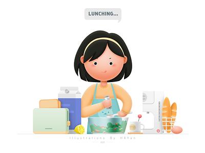 Lunching web ios branding icon typography ux illustration design ps ui