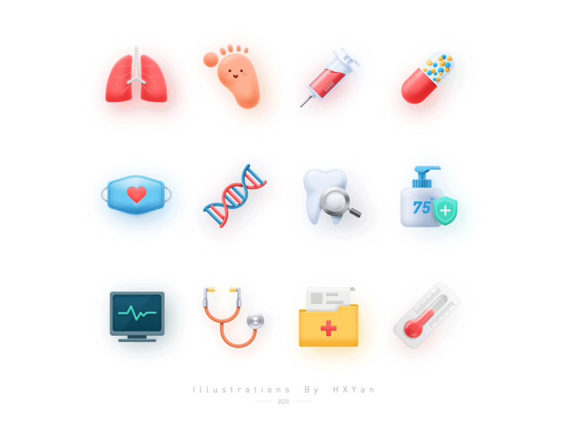 Medical care icon typography app ux ios 设计 插图 illustration design ui ps