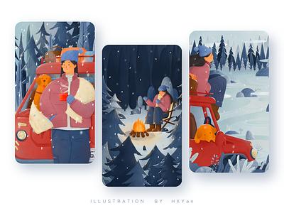 Winter travel app ios vector 设计 插图 ps web design ui illustration