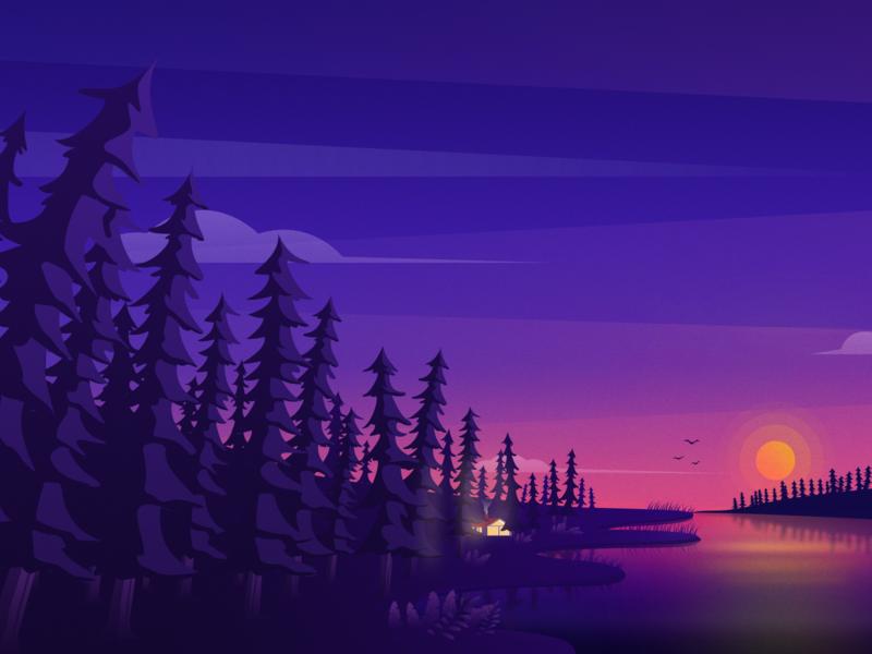 Sunset And Forest 类型 ios 应用 ux ui 卷筒纸 ps design 插图