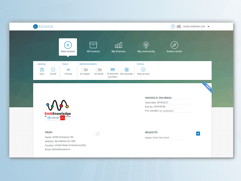 Envoice App Navigation And Invoice Toolbar By Envoicein Dribbble - Key invoice software