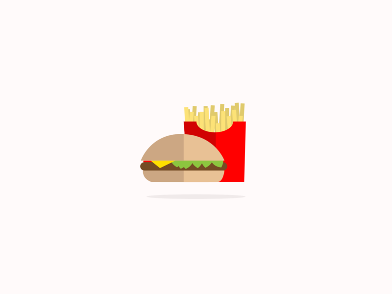 Simple flat illustrations - burger and fries simple flatdesign creative fries burger fastfood illustration design