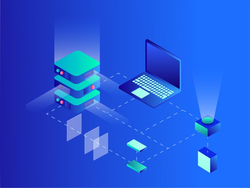 Software isometric data ux design computer software house software flat illustration