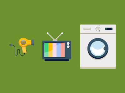 RTV washing machine television tv hairdryer icon flat illustration