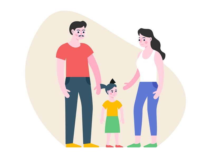Family family father mother kid child flat illustration