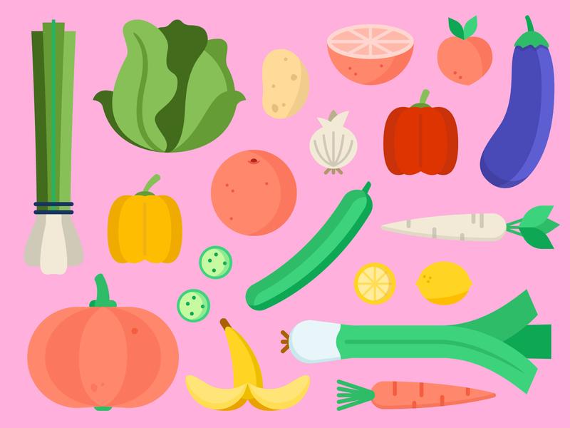 Food bulb leek orange carrot cabbage onion potato peach paprika eggplant cucumber lemon banana pumpkin fruit vegetables flat illustration