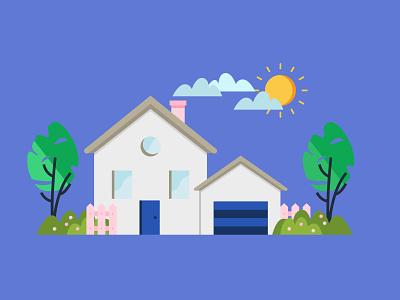 Fancy house garden garage door window tree sun cloud home house flat illustration