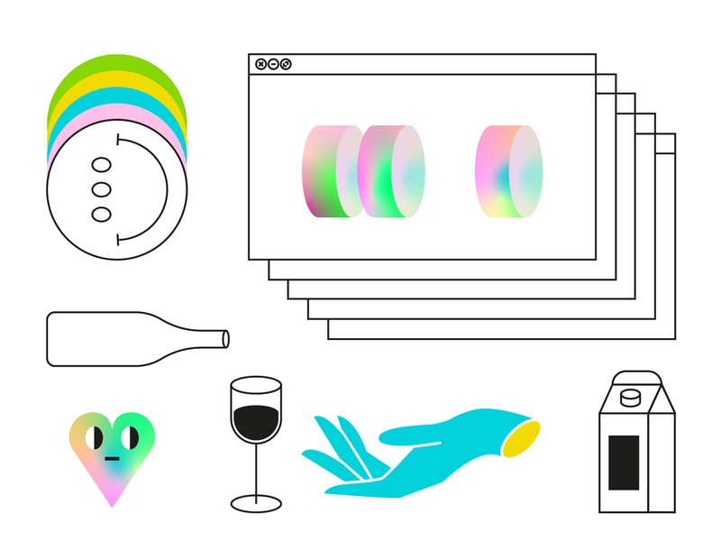 Details element detail color bottle smile milk hand glass wine heart gradiant dribbble flat illustration