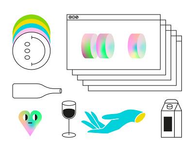 Details element detail color bottle smile milk hand glass wine heart gradiant dribbble flat illustration