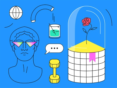 Future glass drink chat rose sculpture vector gradient icon dribbble illustration flat