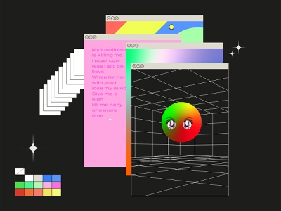 Future cube star color poster adult nudity porn eyes eye icon vector gradient dribbble illustration flat