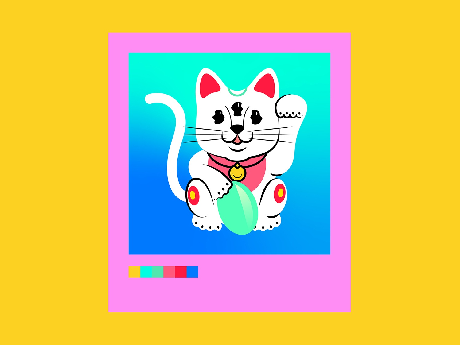 Chinese catto chinese cat cat color vector gradient dribbble illustration flat