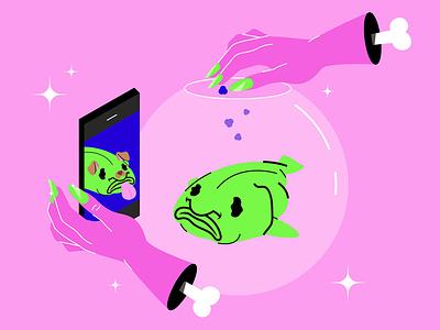 Blobie blobfish nail hand filter snapchat smartphone phone aquarium ugly fish design color vector dribbble illustration flat