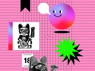 Lucky you composition abstract illustration design poster cartoon star happy face ball lucky cat luck chinese cat cats cat icon color gradient vector illustration flat