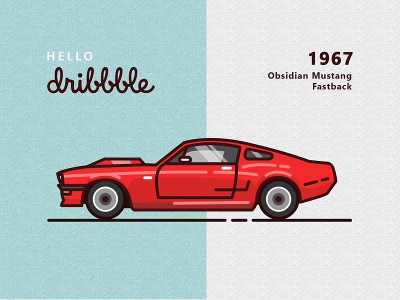 1967 Obsidian Mustang Fastback flat vector design illustration
