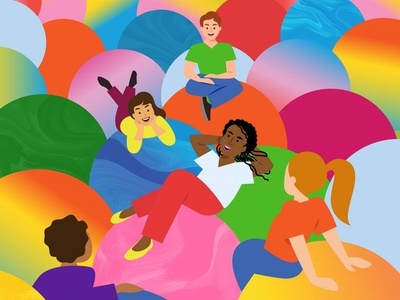 Convene Mag Opening Illustration ball pit happiness joy colorful editorial illustration editorial