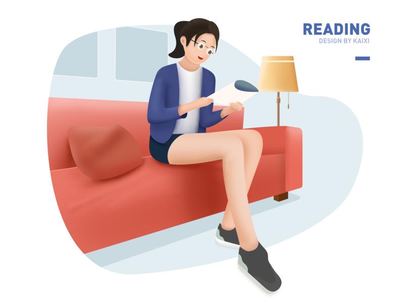 Reading 微质感 girls sofa interaction art clean 阅读 家庭 沙发 插画 family girl illustration illustrator