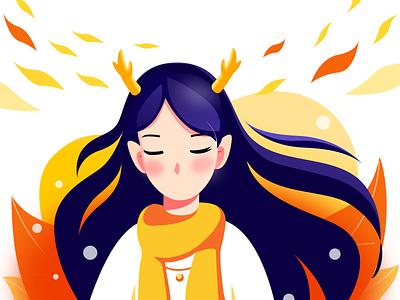 Deer Girl icon design illustration