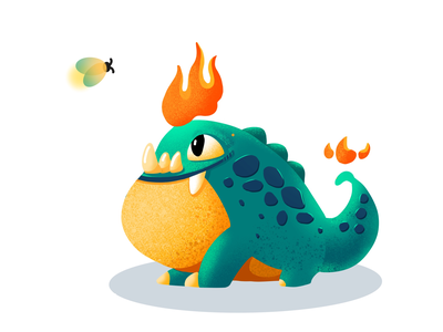 little monster worm glowworm dragon dinosaur frog fire