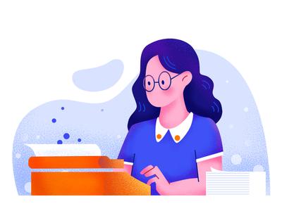 Typing girl