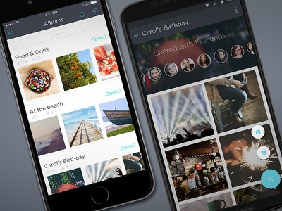 Photo Sharing App - iOS and Android android material upload invite album sharing photo mobile iphone app ios
