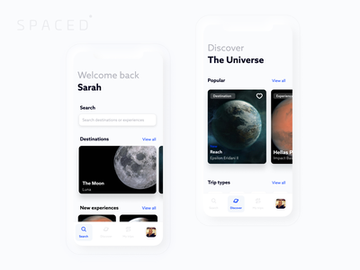 SPACED discover search explore booking iphone11 app ios expedition experience spaceship travel universe space spacedchallenge ui ux minimal
