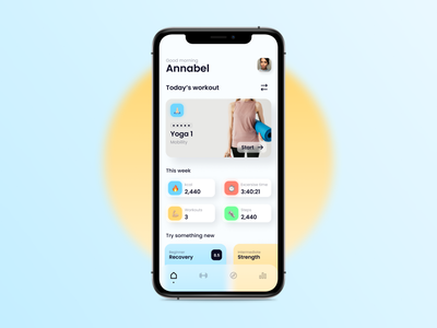 Gym UI health workout gym app yoga training fitness app gym minimal design ux ui
