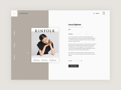 Kinfolk Product Page magazine product page user interface design web kinfolk magazine kinfolk user interface website dailyui ui web design webdesign