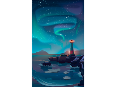 Aurora landscape licht northernlights music night vector art people travel lighthouse print poster